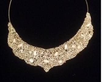 """Crochet Necklace """"Lace"""" from silver-plated wire with seed beads"""