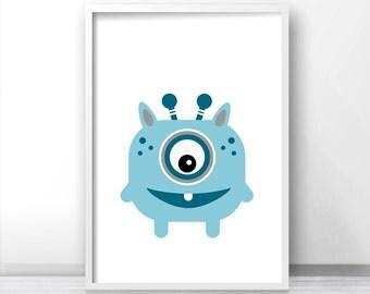 Monster Nursery Print, Kids Art Print, Blue Nursery Decor, Boys Room Art, Monster Wall Art, Nursery Printables, Baby Boy Art, Monster Print