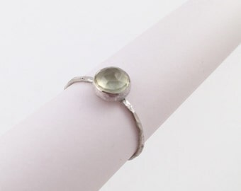 Faceted Peridot Silver Ring, Size 7