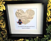 Bilbo Baggins, Confetti Art, Literary Gift, Book Lovers Framed Gift, Nerdy Office Decor, Gift for Him, Gift for Her, Paper Anniversary
