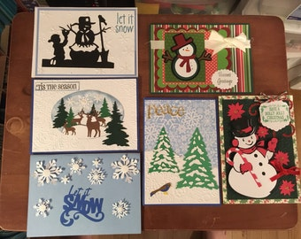 6 Christmas Cards with envelopes (snowman and winter theme)