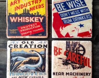 WPA Liquor Signs Tile Set x4