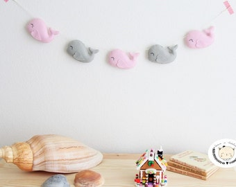 Whale Garland - Happy Whale Garland - Felt Whale Garland - Felt Garland - Felt Bunting - Nursery decor - Toddler room decor