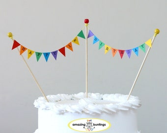Happy Birthday Cake Bunting Topper,1st to 100th Birthday,Rainbow Colors, FREE delivery UK orders