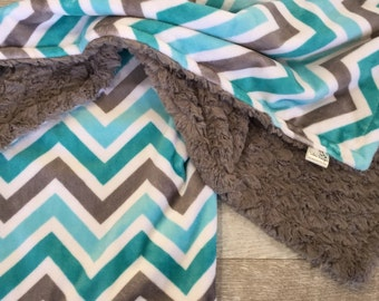 Baby Blanket, Minky Chevron Blanket, Teal Gray Grey Aqua Baby Blanket, Chevron Crib Bedding