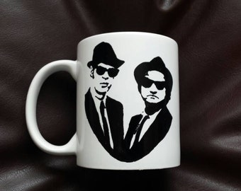 Hand painted mug inspired by the Blues Brothers