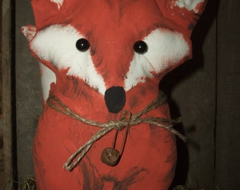 Sly Little Red Fox with Bushy Tail for your Primitive Decor Shelf Sitter, OFG & HAFAIR Teams