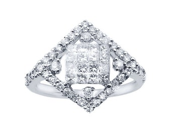 14k White Gold Diamond-Shape With Invisible Cluster Center Ring