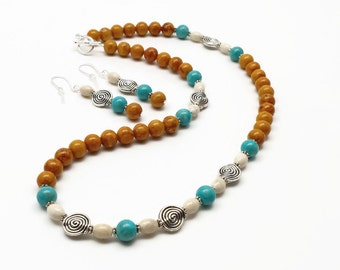 Jewelry Gift Set, Necklace and Earring Set, Brown and Turquoise Riverstone Gemstones, Gift for Her