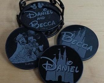 Mickey & Minnie Wedding Coasters ~ Engraved Black Marble Coaster Set ~ Disney Castle Coasters ~ Disney Coasters