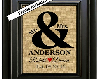 FRAMED Personalized Wedding Gifts Wedding Gift for Couple Gift for Bride Wedding Shower Gift Custom Wedding Gift Ampersand Sign And print