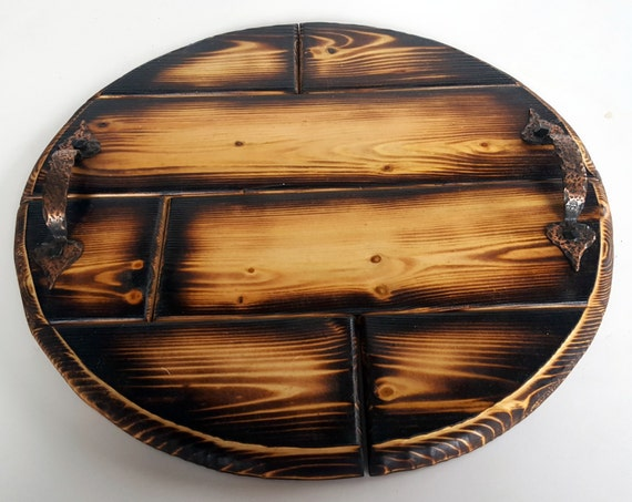 Wood burned ottoman tray round wooden by