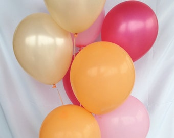 Pink Peach Hot Pink Orange Latex Balloons Pink Balloons Peach Balloons Flamingo Party Lets Flamingle Pink and Peach Party Bridal Shower Dec
