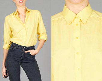ON SALE Vintage 70s Yellow Shirt