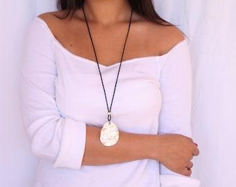 Long Pendant Necklace, Leather Pendant, Leather Jewelry, Leather&Silver, Black Leather Pendant,Statement Necklace Silver,Long Pendant Silver