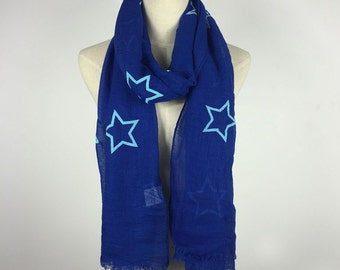 Christmas Gifts Fall Scarf Stars Scarf RoyalBlue Star Scarf Blue Star Scarf Stars Scarves Fashion Scarf Gift For Her Cotton Scarf Teen Scarf