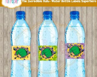 The Incredible Hulk Water Bottle Labels Superhero-Party Supplies-Party Decor-Hulk Water Bottles-Water Labels Hulk-Water Labels Superhero