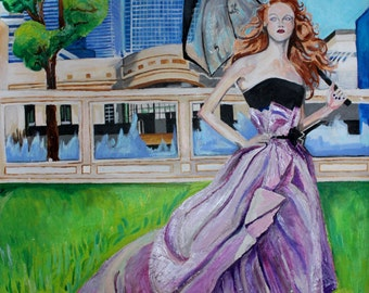 Figure Painting with City Backdrop