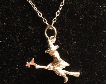 925 sterling silver necklace with witch pendant