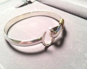 Heavy DK Dave Kidd St. Thomas USVI 40 gram sterling sliver  hook bracelet
