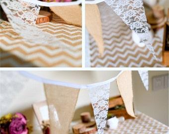 Lace & Burlap Bunting Banner/Wedding Banner/Wedding Bunting/Lace Bunting/Shabby Chic Wedding/Vintage Wedding Decor/Rustic Wedding Decor