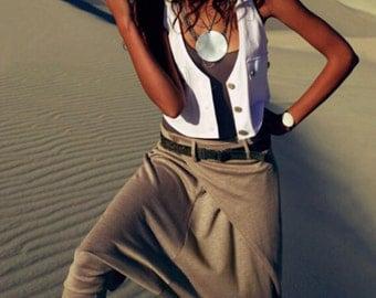 Wrap Harem Womens Pants / Black Gray Wide Leg Banded Pants/ Summer Clothing