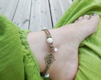 Ankle ethnic, bronze, white ceramic bead chain, arabesque metal, String, foot jewelry