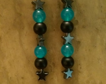 Handmade black and blue beaded earrings with hematite stars