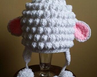 Child's Crochet Lamb Earflap Hat. Easter Lamb Hat. Animal Hat. Photo Prop.