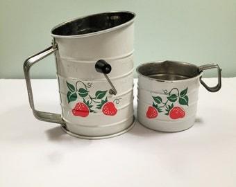 Teleflora Strawberry Flour Sifter and Measuring Cup Vintage Decor 1983 Unique Home Decor Cottage Chic Retro Kitchen Utensils