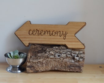 Arrow Ceremony Sign - Customize with words, dates, names, font etc.