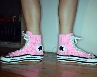 Converse Style Crochet Boot Slippers, All Star Crochet Slippers, Adult Size Converse Style Slippers