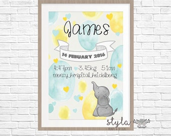Personalised Birth Stat Print- Nursery Baby Elephant (Digital Or Printed)