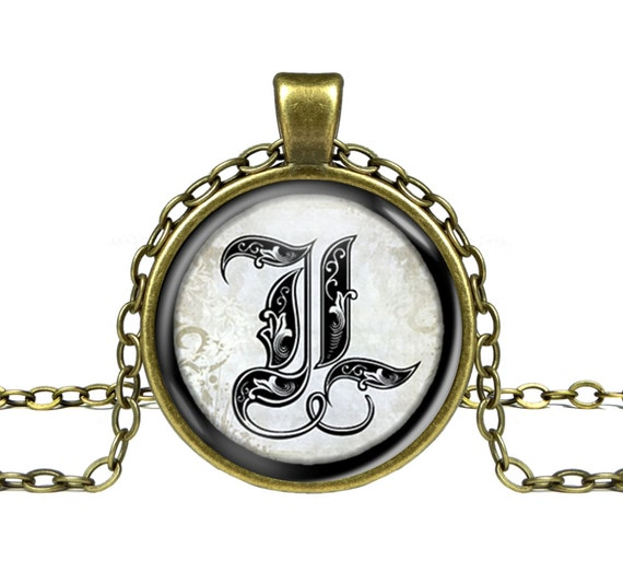 items similar to gothic initial letter necklace gothic With gothic letter name necklace