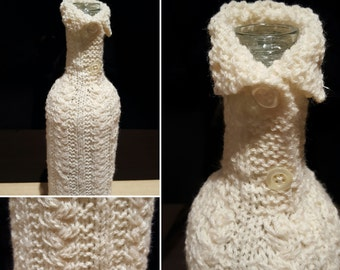 Cable collar hand knitted Wine BOTTLE COVER in pure new wool