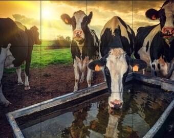 Tile Mural 18 x 24 Ceramic-Cow on the Farm
