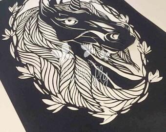 Beautiful Unicorn 2, Hand Finished Paper Cut