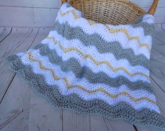 Crochet baby blanket, baby blanket, yellow, white and gray blanket, travel size afghan, nursery decor, baby shower gift, yellow baby bedding