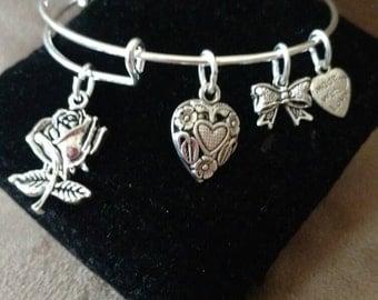 Expandable Silver Colored Bangle Charm Bracelet ROSE FLOWER LOVE