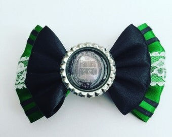 Haunted mansion hair bow with image