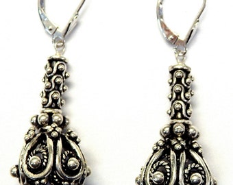 Sterling Silver Handmade Unique Skirt Designed Metal Drop Earrings #0009