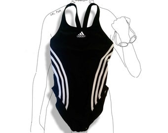 Amazing 90s black and white adidas striped one piece bathing suit