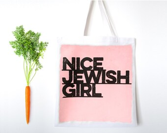 NICE JEWISH GIRL hand-painted Tote Bag with imprinted design, canvas grocery bag