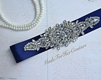 Sale Crystal Wedding sash-navy Blue wedding sash-wedding Sash Belt-Pearl Crystal Sash-Rhinestone belt sash-Bridal Belt Navy-Bridal Sash