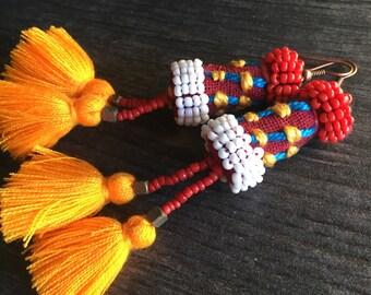 Long tassel earrings, yellow tassel earring, long red earrings, red tassel earring, long colorful earring, fun tassel earring