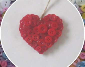 Handmade Red Button Hanging Hearts