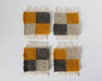 Woven Wool Coasters -- Set of 4 -- Gray and Golden Yellow Blocks