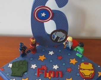 Kids birthday centrepiece - any age - any theme - superhero inspired theme, avengers  inspired theme