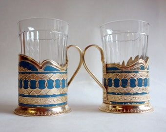 Set of 2 Vintage Russian Soviet Аluminum  Tea Cup Holders with Glasses