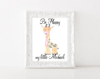 Be happy my little Michael printable | customizable name giraffe nursery printable | baby name printable | Boys name Printable | 003